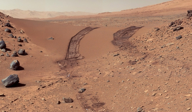 Looking back over a martian dune from NASA's Curiosity rover.