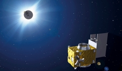 Proba-3 artificial eclipse concept, in which one spacecraft occults the Sun for the other spacecraft, revealing the inner corona as never before.
