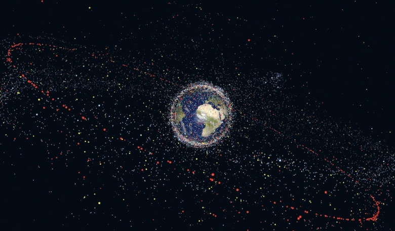 A computer-generated visualisation of space debris surrounding Earth.