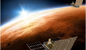 Artist's impression of the Mars Cube One (MarCO) satellites over Mars.