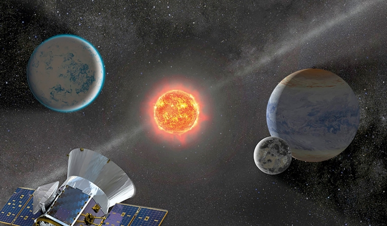 Illustrative view of TESS observing an M dwarf star with orbiting planets.