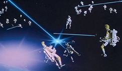 Still from the film 'Moonraker' in 1979 showing the James Bond cinematic concept of troops engaged in a fight in Earth orbit.