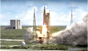 An artist's rendering showing liftoff of NASA's SLS, America's first human-rated heavy lift rocket intended to carry astronauts into deep space since the mighty Saturn V which was the key technical achievement underpinning the Apollo programme.