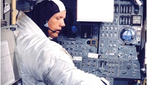 Apollo 11 Commander Neil Armstrong going through flight training in the lunar module simulator situated in the Flight Crew Training Building at Kennedy Space Center in preparation for piloting the module to a lunar landing.