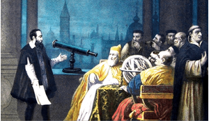 Galileo displays his telescope to Doge Leonardo Dona and the Venetian Senate (painting by HJ Detouche, circa 1754).