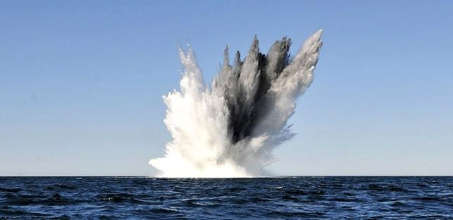 More than two dozen US Navy mines detonated within a 30 second period...