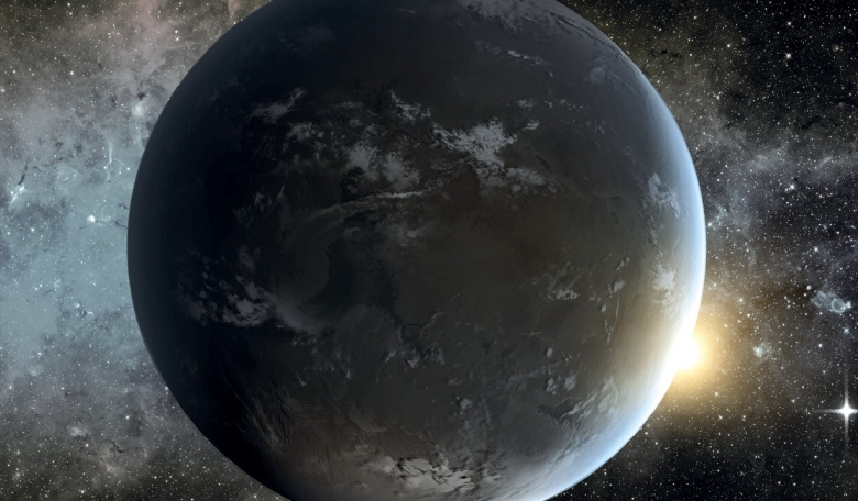 Artist's concept of Kepler-62f, a super-Earth-size exoplanet located about 1,200 light-years from Earth in the constellation Lyra. The planet could be a rocky world with water, and potentially habitable.