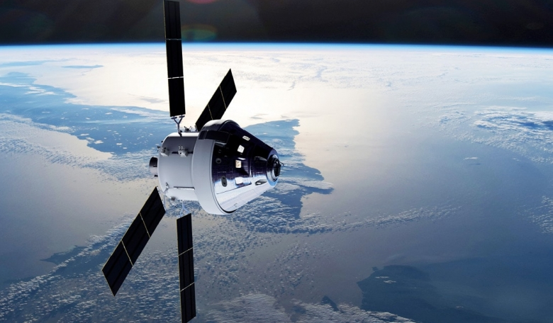 Artist's impression of the Orion spacecraft over Earth - the European Service Module is directly behind Orion's crew capsule and provides propulsion, power, thermal control, and water and air for four astronauts.