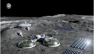 Artist impression of a Moon base concept using solar arrays for energy generation, greenhouses for food production and habitats shielded with regolith.