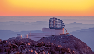 LSST at sunset, taken from behind the nearby Gemini telescope at the Cerro Pachón ridge in Chile.