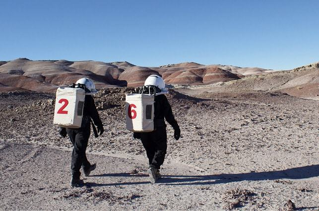 Scientists at the Mars Desert Research Station in Utah-preparing for a hypothetical manned mission to Mars