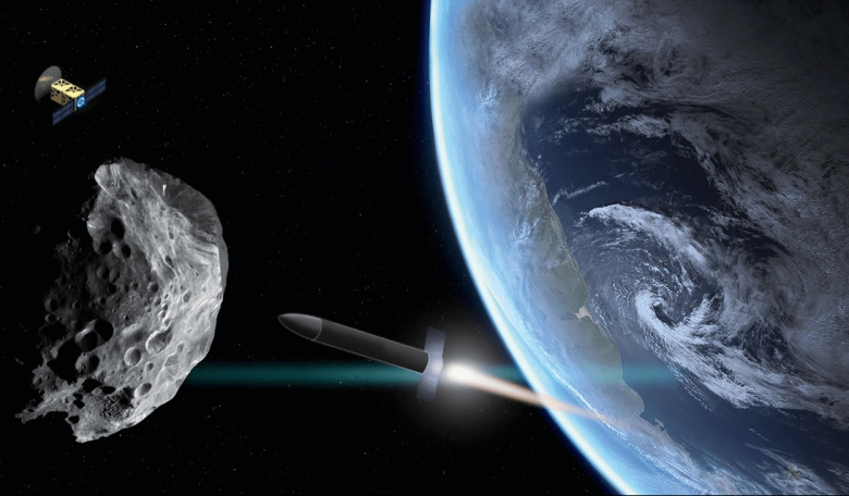 A rocket approaching an asteroid that has drifted close to Earth. A scout probe orbits nearby.