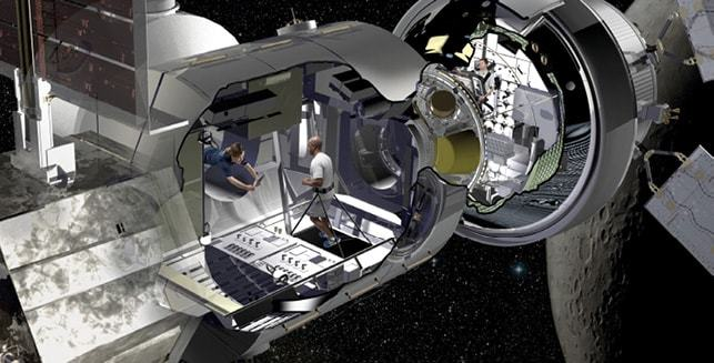 Living quarters concept for deep space missions of 30 to 60 days accommodating four crew members.