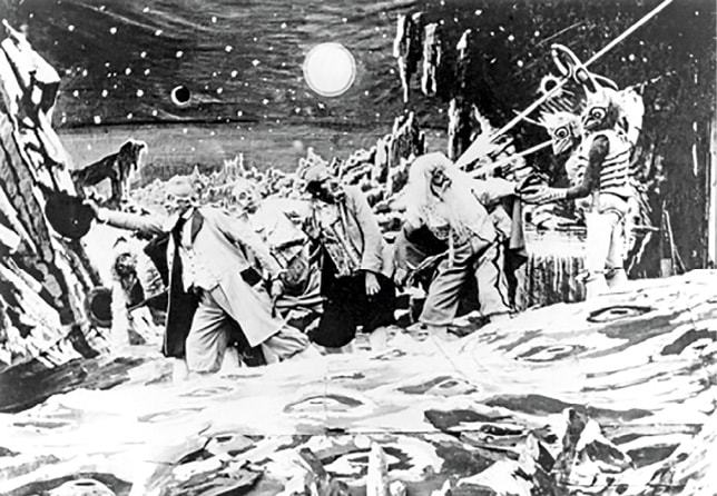 Dans une image du film d'aventure de Georges Melies 1902 Le voyage dans la Lune ...