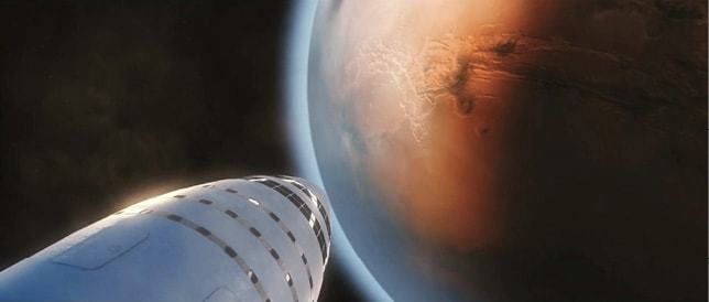SpaceX Starship approaching Mars - a journey to the red planet could take up to nine months.