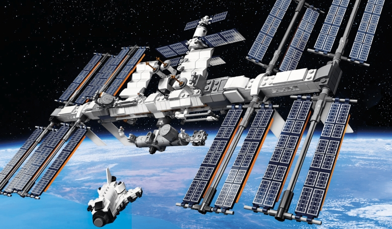 Lego s International Space Station in orbit – complete with Space Shuttle.