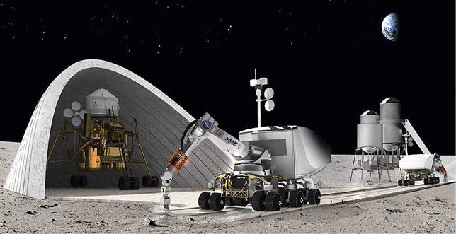 A concept for constructing a lunar base using automated 3D printers...