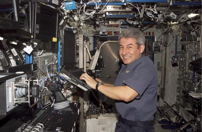 Brazil's first astronaut, Marcos Pontes in the Destiny laboratory of the International Space Station in April 2006.