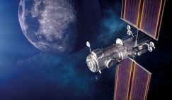 On the way back to the Moon - artist's concept of NASA Habitation and Logistics Outpost (HALO) in lunar orbit.