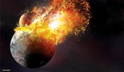 A catastrophic collision between the proto-Earth and Theia rips the two planetary bodies apart.