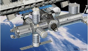 Artist's impression showing Asgardia node in situ (to the right of ESA's Columbus) on the ISS.