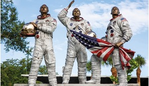 The 'Eagle has Landed' monument in the Moon Tree Garden at KSC Visitor Center in Florida, USA.