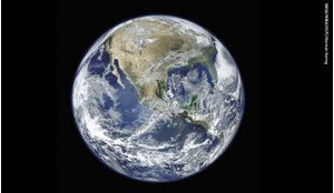 A 'Blue Marble'-type image of Earth taken from the VIIRS instrument aboard NASA's EO satellite Suomi NPP.
