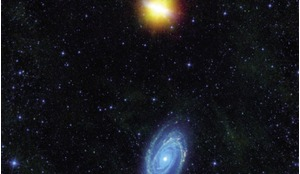 Image from NASA's Wide-Field Infrared Survey Explorer (WISE) of Messiers 81 and and 82 (top) which swept by each other a few hundred million years ago, an encounter which triggered a spectacular burst of star formation visible in both galaxies.