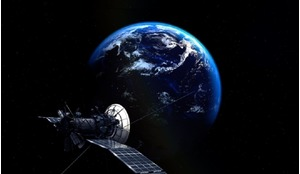 Small satellite orbiting Earth in a low Earth orbit.