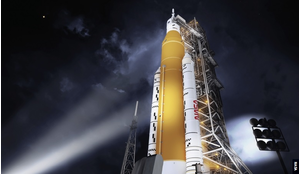 SLS in the configuration that will send astronauts to the Moon on the Artemis missions. For the rocket's first flight it is planned to send an uncrewed Orion spacecraft in an orbit beyond the Moon.