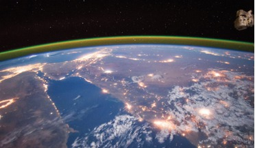 The Nile River during a nighttime flyover of Egypt in September 2015 photographed from the International Space Station by NASA astronaut Scott Kelly.