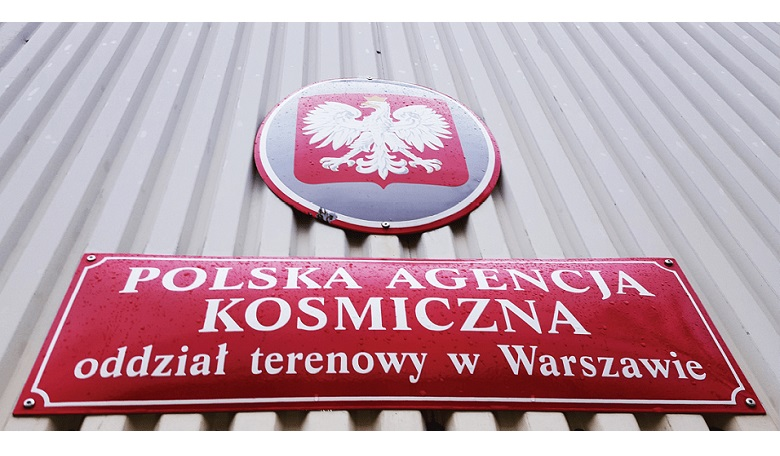 A sign announcing the presence of Polish Space Agency facilities.