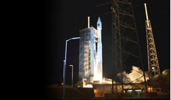 ULA Atlas-V rocket moments after lift off on 22 March 2016. It launched the OrbitalATK Cygnus cargo resupply spacecraft to the International Space Station.