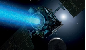Artist's concept showing NASA's Dawn spacecraft thrusting with its centre ion engine high above the night side of Ceres.