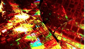 Silicon wafers etched with integrated circuits for space missions.