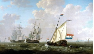 The yacht of the Rotterdam chamber of the Dutch East India Company greets a VoC ship near Hellevoetsluis' by Jacob van Strij, 1790.