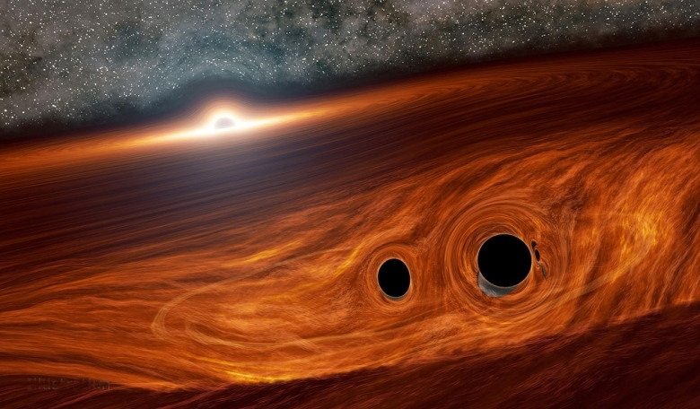 Artist's concept of a supermassive black hole surrounded by a disk of gas with two smaller black holes that may have merged together to form a new black hole. [Caltech/R Hurt]