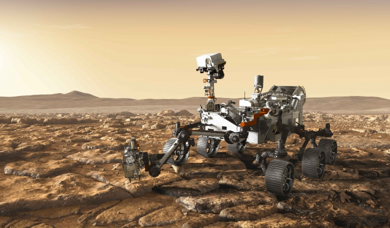 Artist's impression of Mars 2020 rover at work. NASA
