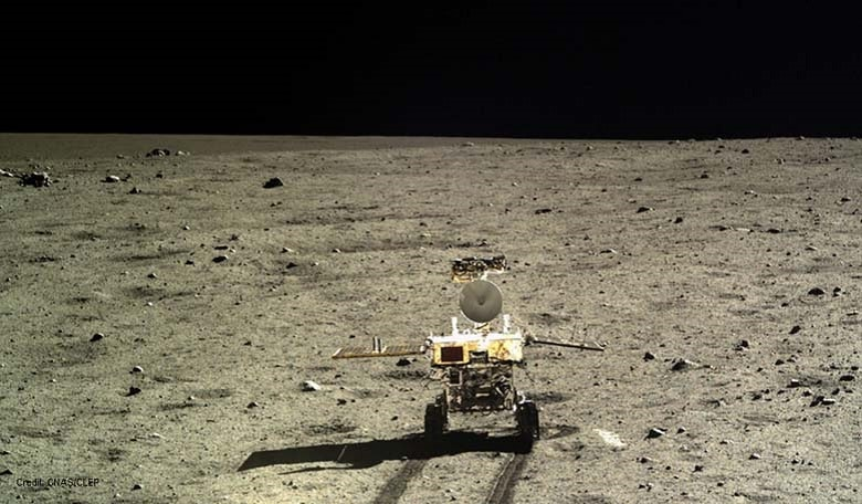 The Chinese lunar rover, Yutu, photographed by its lander Chang'e-3, after it touched down in Mare Imbrium.