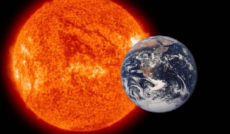 Sun and Earth (not to scale) Image credit: wikia.com