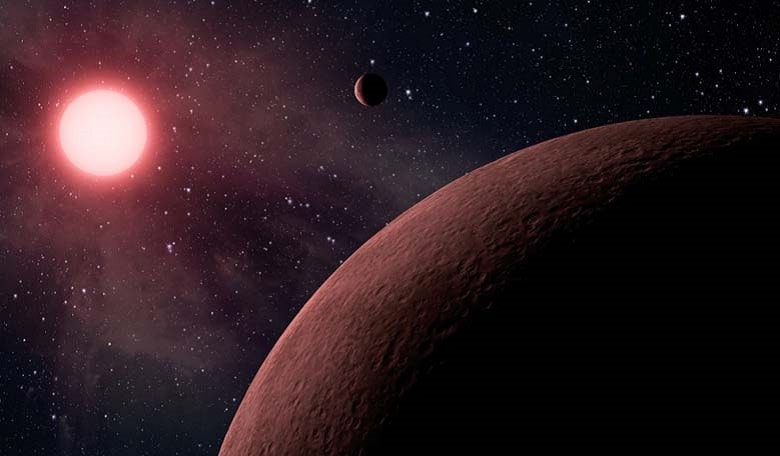 An artists impression of an exoplanet system. Image credit: adapted from an image from NASA.