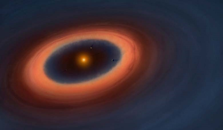 Artistic illustration of the Sz 91 system. The blue color represents the gas in the disc, which extends far beyond the dust ring and is also detected inside the ring.