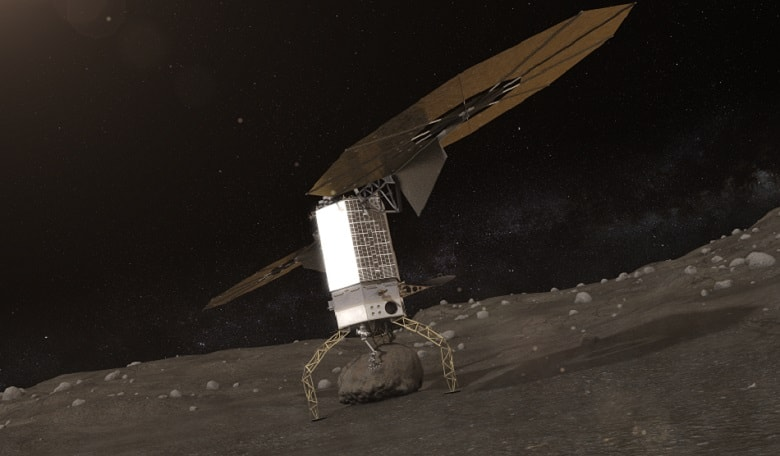 A rendition of a probe on a rocky body. Image credit: NASA/JPL