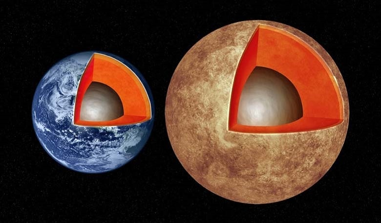 This artist's illustration compares the interior structures of Earth (left) with the exoplanet Kepler-93b (right), which is one and a half times the size of Earth and 4 times as massive.