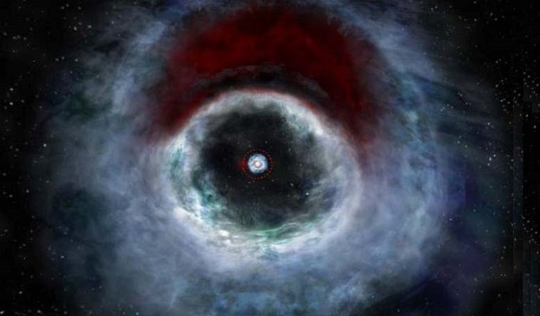Artist impression of the HD 142527 binary star system based on data from the Atacama Large Millimeter/submillimeter Array (ALMA). The rendition shows a distinctive arc of dust (red) embedded in the protoplanetary disk.