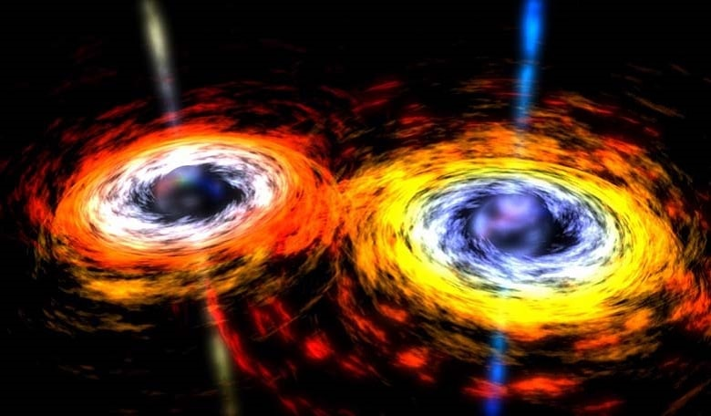 As two super-massive black holes spiral around each other and eventually merge, they create gravitational waves.