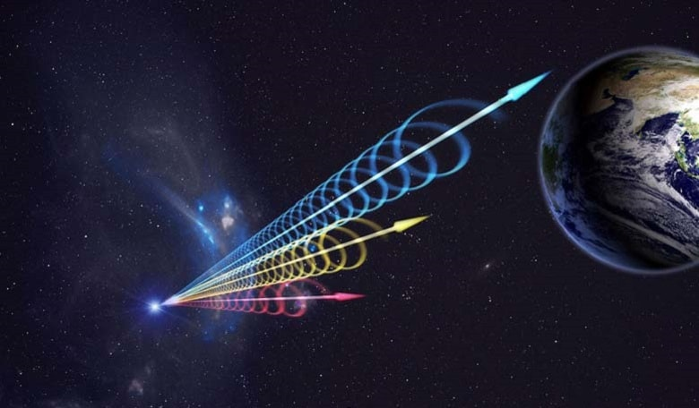 Artist impression of a Fast Radio Burst (FRB) reaching Earth. The colors represent the burst arriving at different radio wavelengths, with long wavelengths (red) arriving several seconds after short wavelengths (blue).