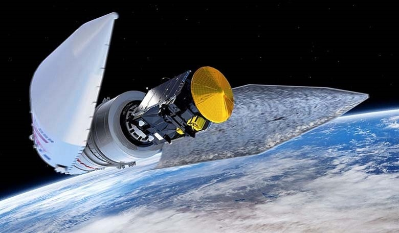 Artist's concept of the Proton rocket's payload fairing releasing in flight, revealing the ExoMars spacecraft.