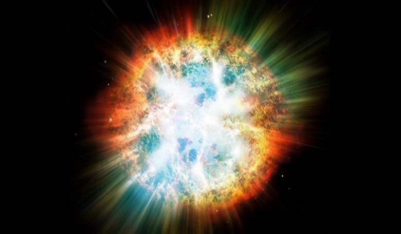 An artist's conception showing a powerful supernova ripping through a nebula. Image credit: Corbis/Discovery.com