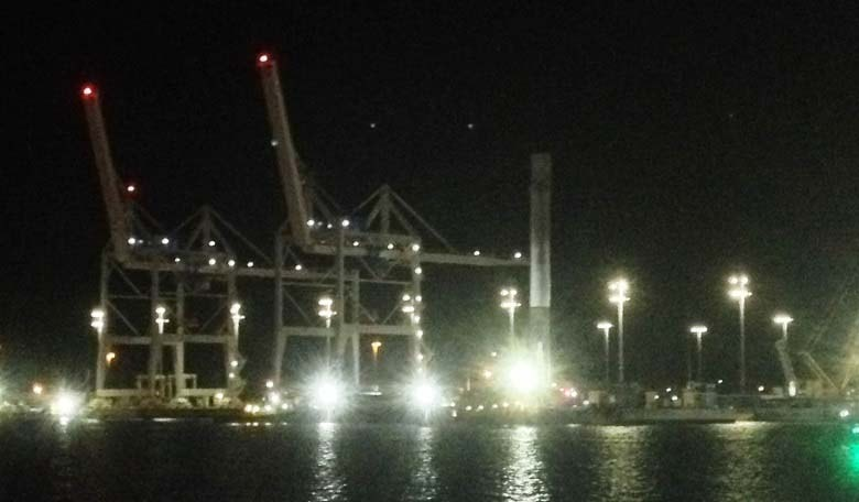 Exclusive photo of SpaceX Falcon 9 first stage arriving at Port Canaveral taken by Gerard van de Haar.